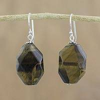 Tiger's eye dangle earrings, 'Honeyed Nugget' - Tiger's Eye Dangle Earrings on Sterling Silver Hooks