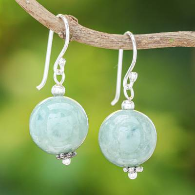 Jade dangle earrings, 'Touch of Jade' - Jade Bead and Sterling Silver Dangle Earrings from Thailand