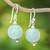 Jade dangle earrings, 'Touch of Jade' - Jade Bead and Sterling Silver Dangle Earrings from Thailand thumbail