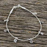 Silver charm bracelet, 'Circles and Squares' - 950 Silver Circle and Square Charm Bracelet from Thailand