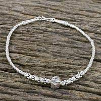 Silver beaded pendant bracelet, 'Glamorous Lotus' - 950 Silver and Sterling Silver Beaded Lotus Pendant Bracelet