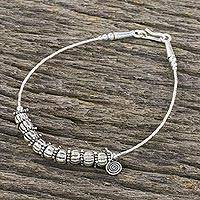 Silver beaded bracelet, 'Hill Tribe Reverie' - Hill Tribe Style Silver Beaded Bracelet from Thailand