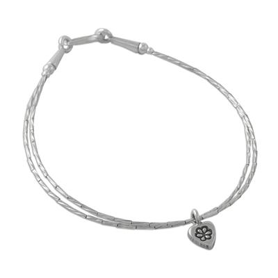 Silver charm bracelet, 'Heart and Charm' - Thai Karen Silver Beaded Bracelet with Heart Shaped Charm