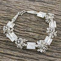 Silver beaded bracelet, 'Hill Tribe Daisies' - Thai Style 950 and 925 Silver Beaded Floral Bracelet