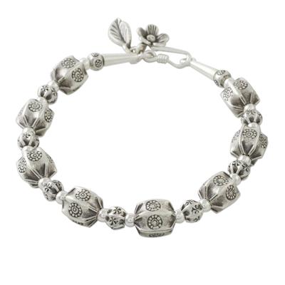 Silver beaded bracelet, 'Hill Tribe Pleats' - Artisan Crafted 950 Silver Beaded Bracelet from Thailand