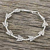 Silver beaded bracelet, 'Hill Tribe Butterflies' - Butterfly Motif 950 and 925 Silver Bracelet with Hook Clasp