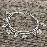 Silver beaded charm bracelet, 'Hill Tribe Seasons' - Flower and Leaf Charm Bracelet in 950 and 925 Silver
