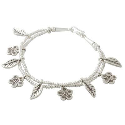 Silver beaded charm bracelet, 'Hill Tribe Seasons' - Flower and Leaf Charm Bracelet in 950 and 925 Silver