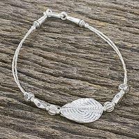 Silver pendant bracelet, 'Hill Tribe Fingerprint' - Karen Hill Tribe Silver Pendant Bracelet from Thailand