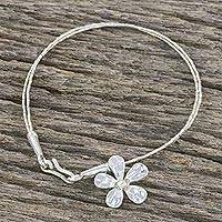 Silver beaded charm bracelet, 'Hill Tribe Appeal' - Double Strand 950 Silver Bead Bracelet with Flower Charm