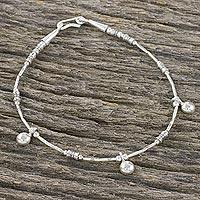 Sterling silver charm bracelet, 'Karen Trio' - Thai Hill Tribe Silver Handcrafted Sterling Charm Bracelet
