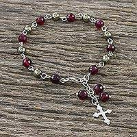 Chalcedony and pyrite beaded charm bracelet, 'Faith and Soul' - Rosary Style Chalcedony and Pyrite Cross Charm Bracelet