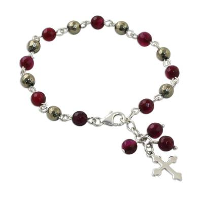 Rosary Style Chalcedony and Pyrite Cross Charm Bracelet