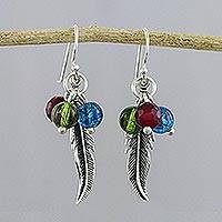 Beaded sterling silver dangle earrings, 'Rainbow Feathers' - Multicolored Bead Sterling Silver Feather Dangle Earrings