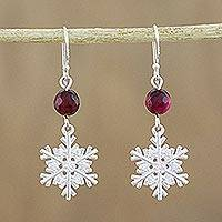 Chalcedony dangle earrings, 'Winter Wonderland' - Sterling Silver Snowflake Earrings with Chalcedony