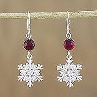 Chalcedony dangle earrings, 'Winter Wonderland' - Sterling Silver Snowflake Earrings with Chalcedony