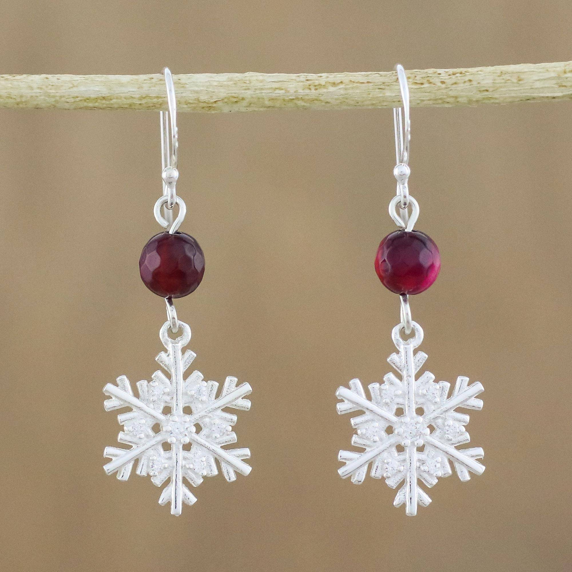 Sterling Silver Snowflake Earrings With Chalcedony Winter Wonderland
