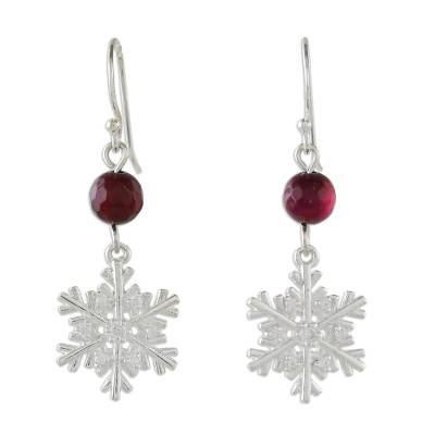 Sterling Silver Snowflake Earrings with Chalcedony
