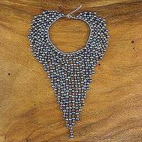 Cultured pearl waterfall necklace, 'Twilight Muse' - Dramatic Cultured Pearl Waterfall Necklace from Thailand