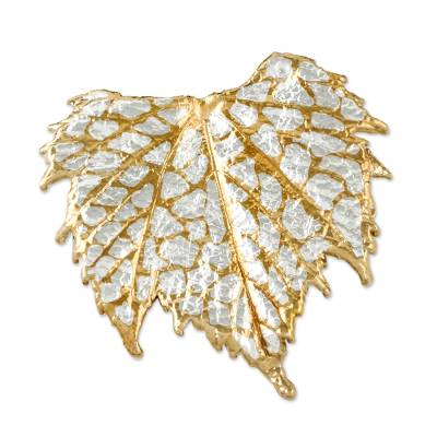 Thai Gold and Silver Plated Natural Grape Leaf Brooch