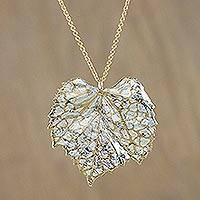 Gold and sterling silver plated natural leaf pendant necklace, 'Grape Leaf Harmony' - Thai Gold and Silver Plated Natural Grape Leaf Necklace