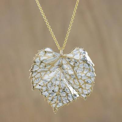 Thai gold and silver plated natural grape leaf necklace grape gold and sterling silver plated natural leaf pendant necklace grape leaf harmony aloadofball Image collections
