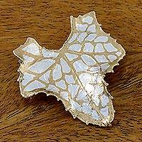 Gold and silver plated natural leaf brooch,