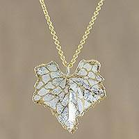 Gold and sterling silver plated natural leaf pendant necklace, 'Melon Leaf Harmony' - Thai Gold and Silver Plated Natural Melon Leaf Necklace