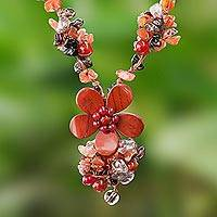 Multi-gemstone beaded pendant necklace 'Dazzling Bloom' - Floral Multi-Gemstone Beaded Pendant Necklace from Thailand