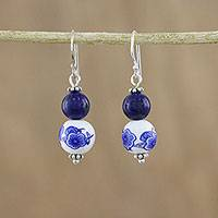 Lapis lazuli and ceramic dangle earrings, 'Ming Lotus' - Artisan Handmade 925 Sterling Silver Lapis Lazuli Earrings