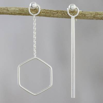 Sterling silver dangle earrings, 'Icy Holiday' - Artisan Handmade 925 Sterling Silver Earrings Hexagon Chain