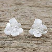 Sterling silver button earrings, 'Petite Blossoms' - Floral Sterling Silver Button Earrings from Thailand