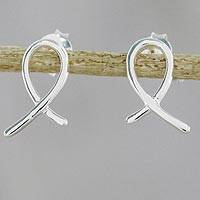 Sterling silver drop earrings, 'Gleaming Ribbon' - Ribbon-Shaped Sterling Silver Drop Earrings from Thailand