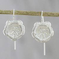 Sterling silver drop earrings, 'Tasteful Blossoms' - Floral Sterling Silver Drop Earrings from Thailand
