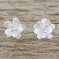 Sterling silver button earrings, 'Fantastic Blossoms' - Flower-Shaped Sterling Silver Button Earrings from Thailand