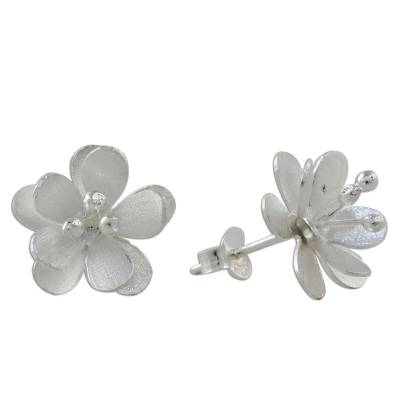 Handcrafted Blooming Flower Sterling Silver Button Earrings