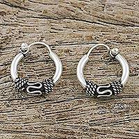 Sterling silver hoop earrings, 'Thai Flair' - Hand Crafted Sterling Silver Hoop Earrings from Thailand