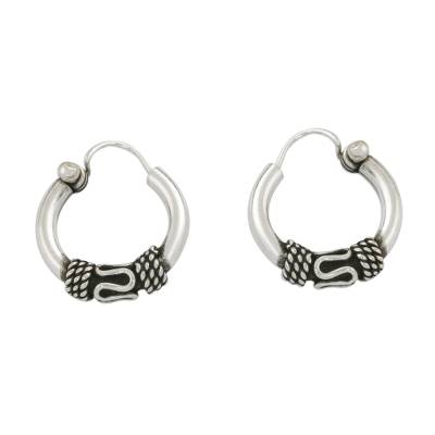 Hand Crafted Sterling Silver Hoop Earrings from Thailand
