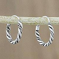 Sterling silver hoop earrings, 'Braided Beauty' - Hand Crafted Sterling Silver Hoop Earrings from Thailand