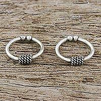 Sterling silver ear cuffs, 'Sleek Braid' (pair) - Pair of Modern Thai Sterling Silver Ear Cuff Earrings