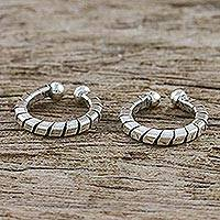 Sterling silver ear cuffs, 'Modern Link' (pair) - Hand Crafted Thai Sterling Silver Ear Cuff Earrings (Pair)