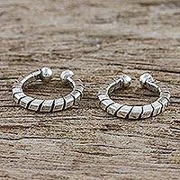 Sterling silver ear cuffs, 'Modern Link' (pair) - Hand Crafted Thai Sterling Silver Ear Cuff Earrings (Pair)