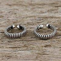 Sterling silver ear cuffs, 'Sleek Spirals' (pair) - Sterling Silver Thai Ear Cuff Earrings (Pair)