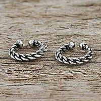Sterling silver ear cuffs, 'Stylish Rope' (pair) - Rope Motif Sterling Silver Ear Cuffs from Thailand