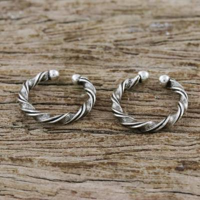 Sterling silver ear cuffs, 'Stylish Twist' - Twisting Sterling Silver Ear Cuffs from Thailand