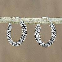Sterling silver hoop earrings, 'Charming Chain' - Chain Motif Sterling Silver Hoop Earrings from Thailand