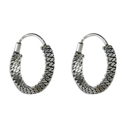 Chain Motif Sterling Silver Hoop Earrings from Thailand
