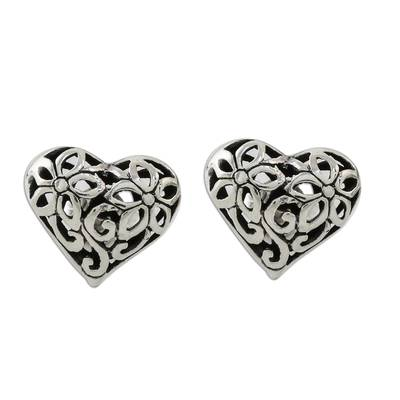Floral Heart-Shaped Sterling Silver Earrings from Thailand