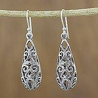 Sterling silver dangle earrings, 'Gorgeous Thai' - Drop-Shaped Sterling Silver Dangle Earrings from Thailand