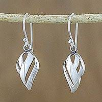 Sterling silver dangle earrings, 'Elegant Touch' - Shining Sterling Silver Dangle Earrings from Thailand